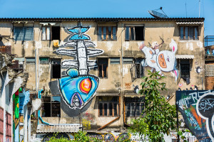 Giant Graffiti On The Abandon Building In Thailand